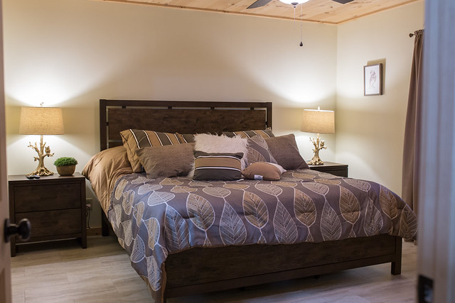Master bedroom with King size bed and built in dresser