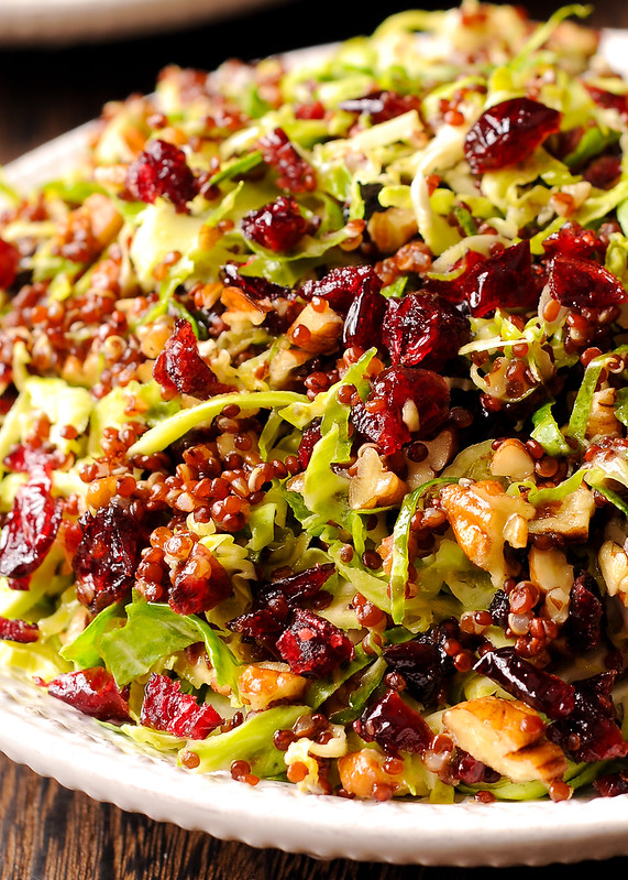 Warm Quinoa and Brussels Sprout Salad in Honey Mustard Vinaigrette