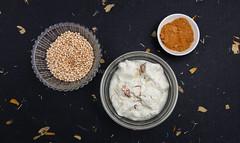 Sheep yogurt with saffron, puffed quinoa and coconut blossom sugar.