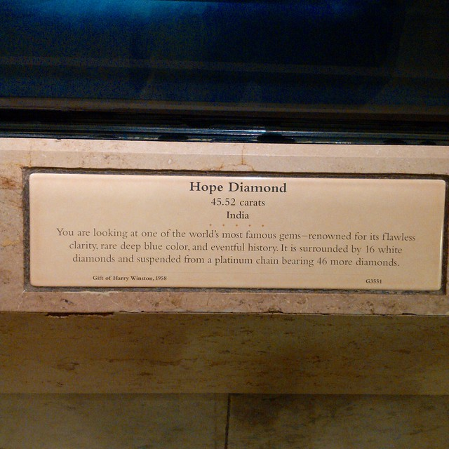 Hope Diamond Sign at the Smithsonian Natural History Museum