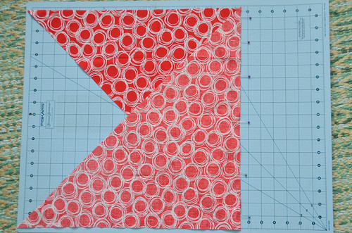 """Sew triangles together so they form parallelogram, right sides together with 1/4"""" inseam."""