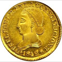 1842 Ecuador 8 Escudos obverse