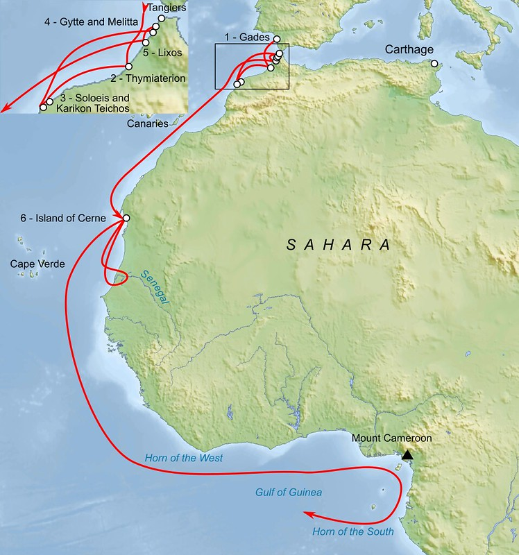 Map of travel of Hanno the Navigator`s navigation