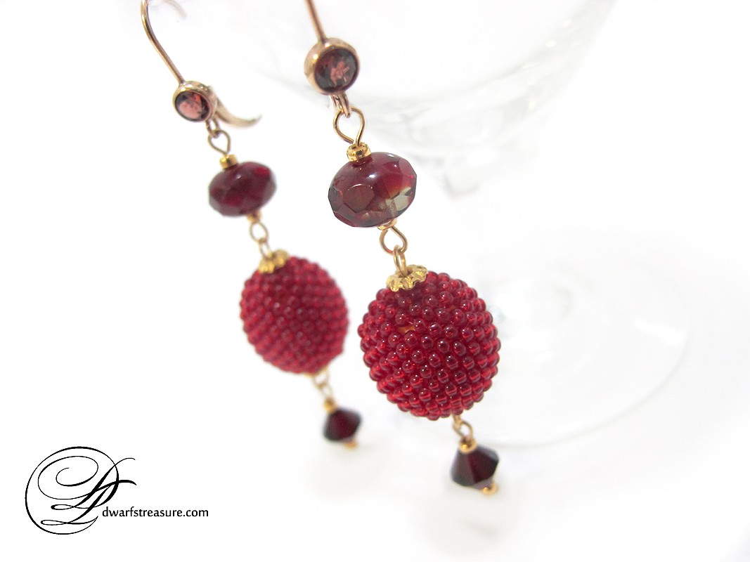 Pretty ruby red bead bead earrings with garnet Swarovski crystals