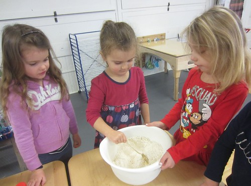 stirring the dry ingredients