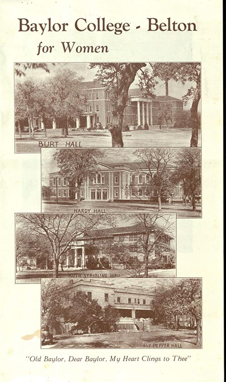 College, Belton: For Women. [Belton, TX?]: [publisher not identified], [between 1925 and 1929?]. Print.