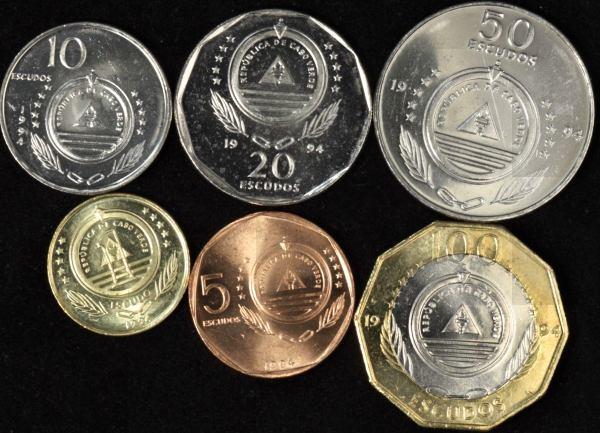 Sada mincí Kapverdy 1-5-10-20-50-100 Escudos 1994