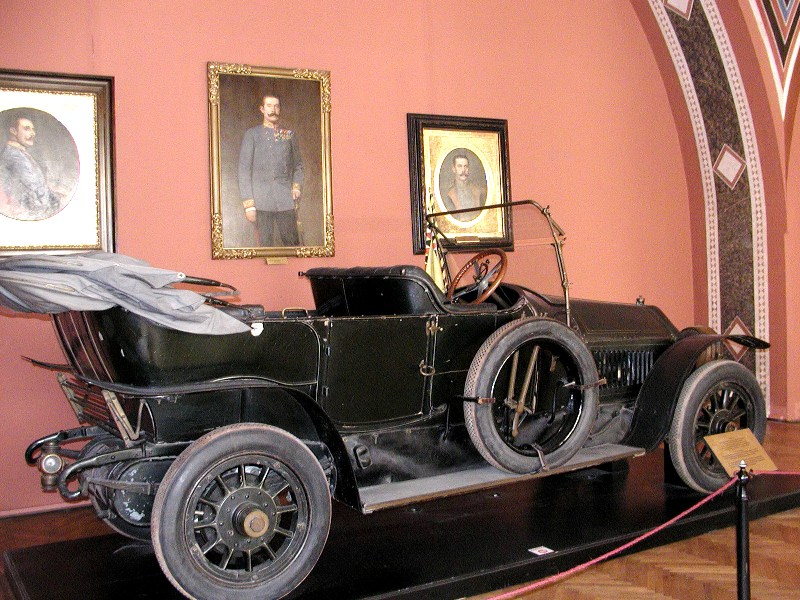 The 1911 Gräf & Stift Bois de Boulogne phaeton automobile in which Archduke Ferdinand and his wife were assassinated is now displayed in the Museum of Military History in Vienna. Photo taken on August 14. 2003.