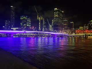 Brisbane River from South Bank at night
