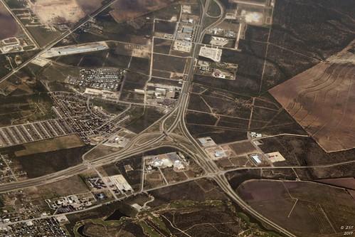 aerial aerialimage aerialview commercialairline commercialflight flight texas unitedairlines zeesstof hwy277 hwy306 hwy67 roadjunction sanangelo texascity