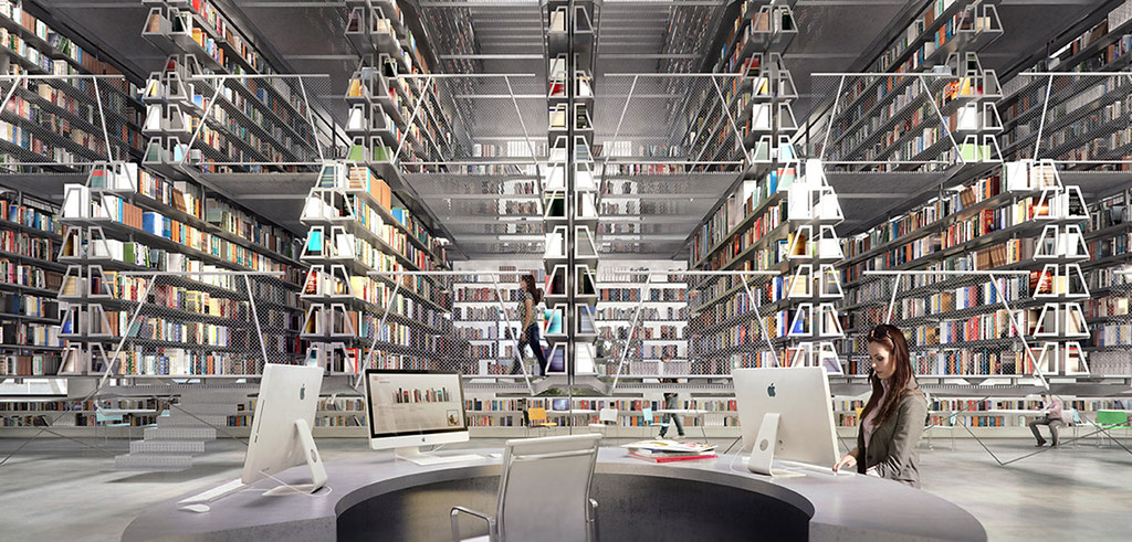 Rendering Of The Library Book Stacks.