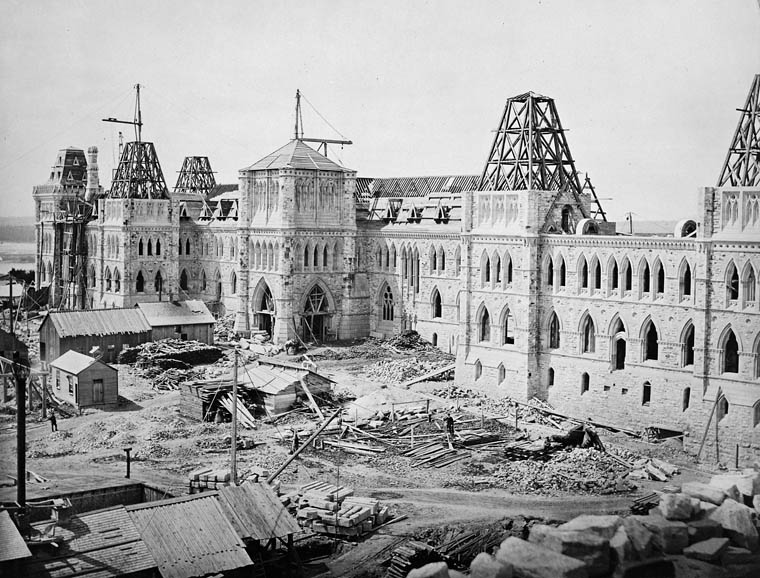 Centre Block under construction in 1863
