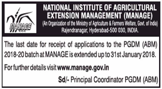 MANAGE Hyderabd Deadline Extended