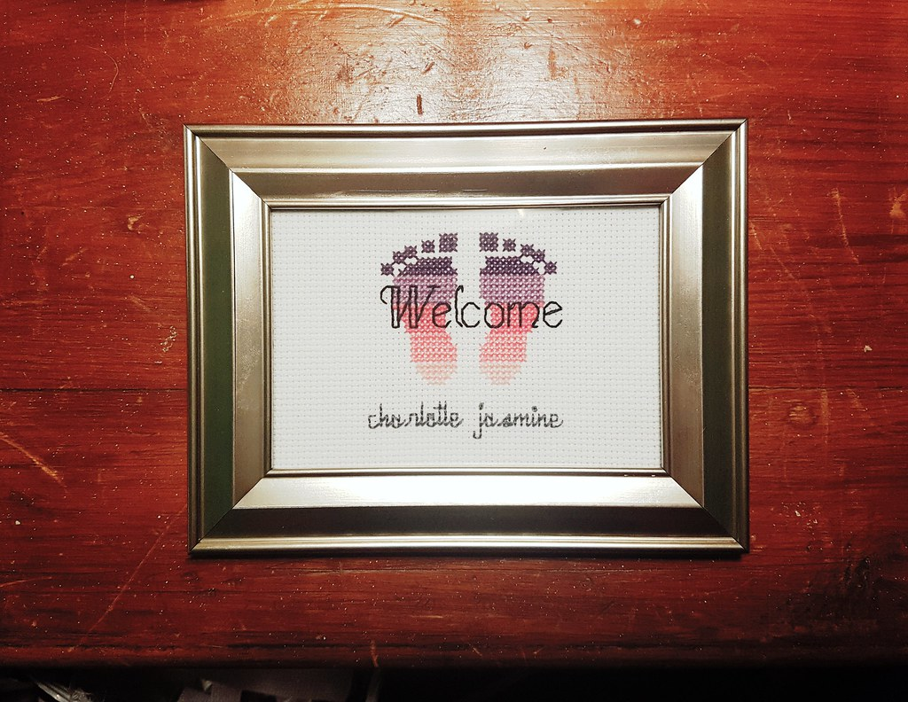 Charlotte Jasmine welcome baby cross stitch