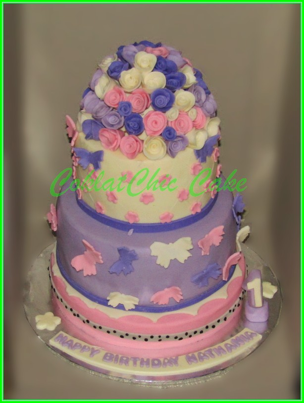 Cake flower & Butterfly NATHANIA 18&15 cm