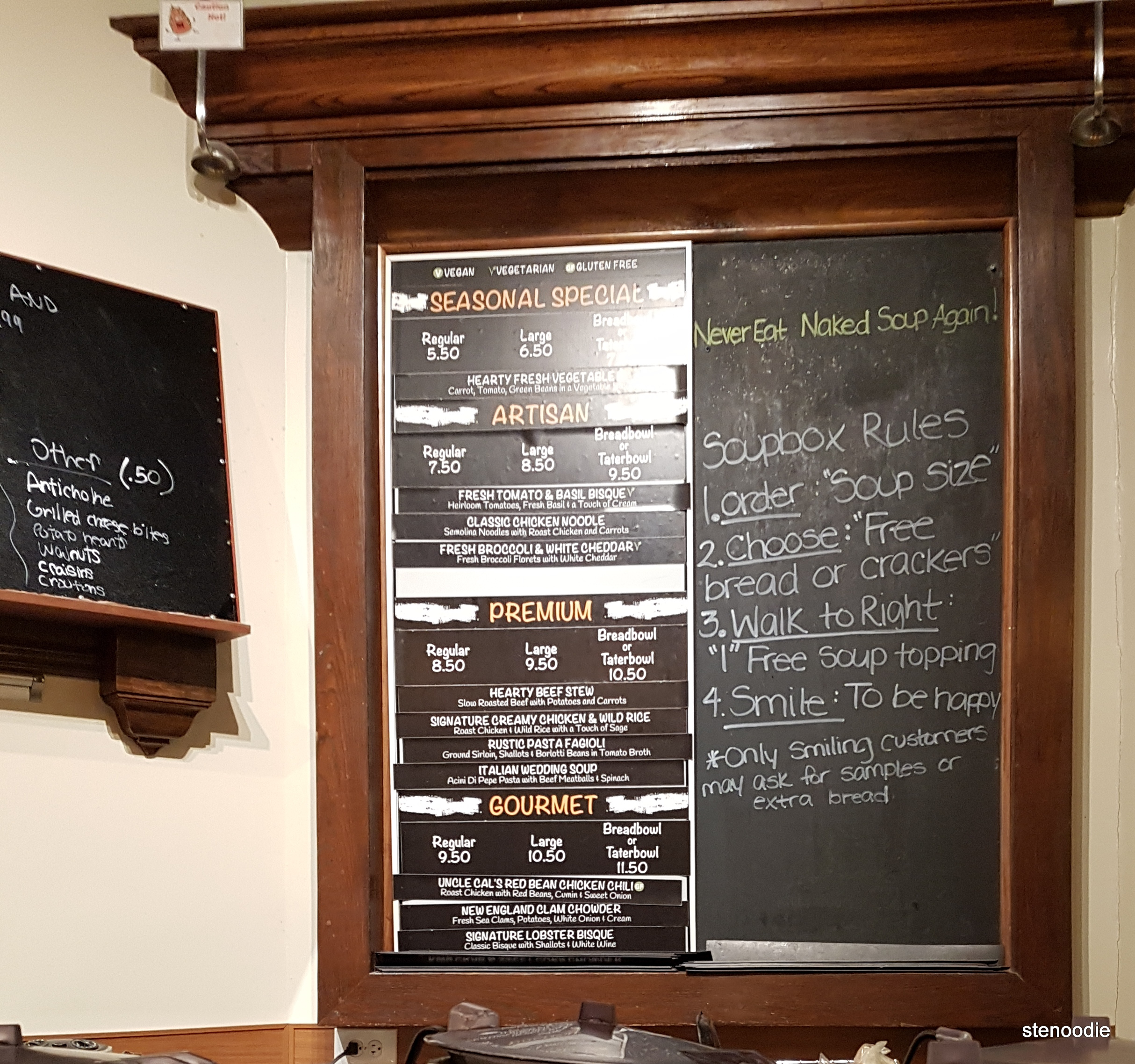 Soupbox menu and prices