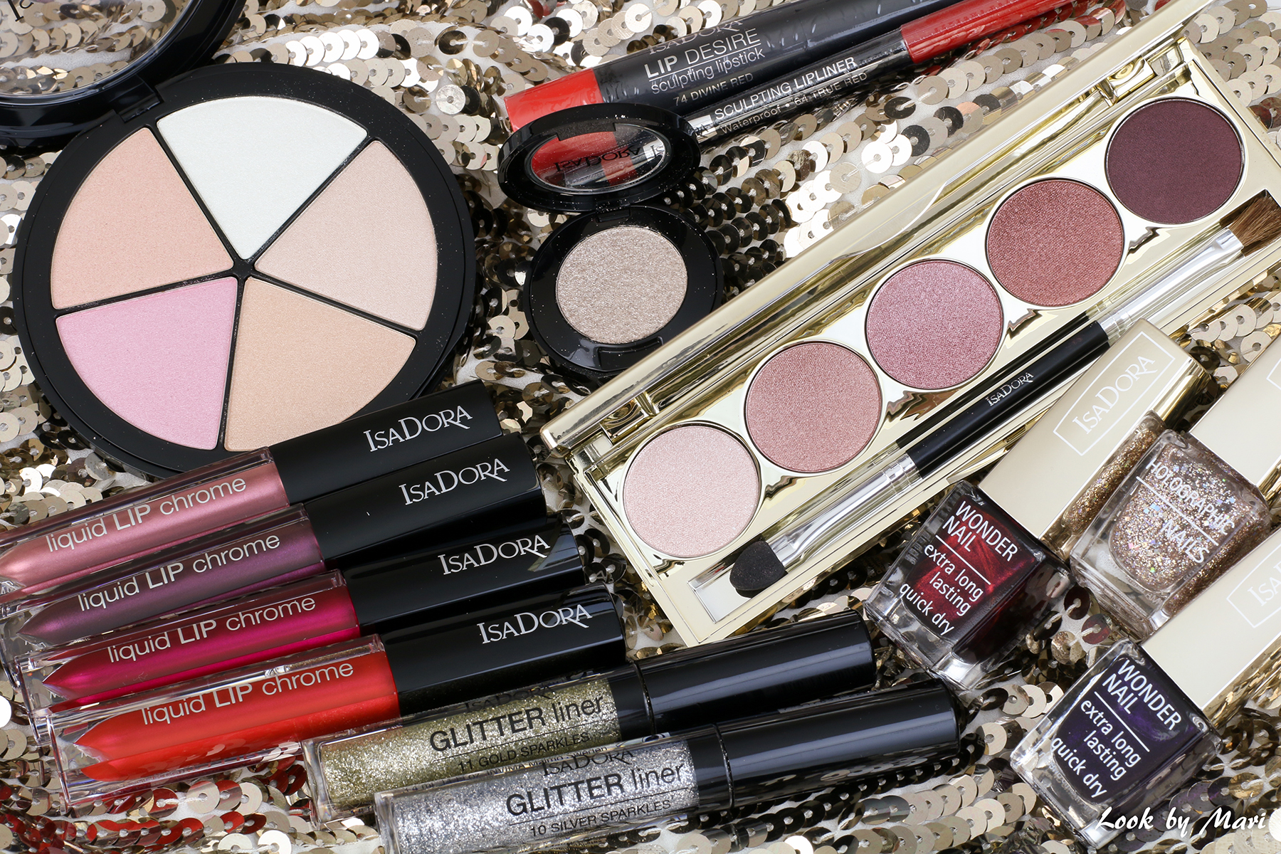 3 isadora holiday collection 2017 lip crome eyeshadow palette glitter liner review swatches