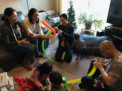 Balloon-folding on a rainy day