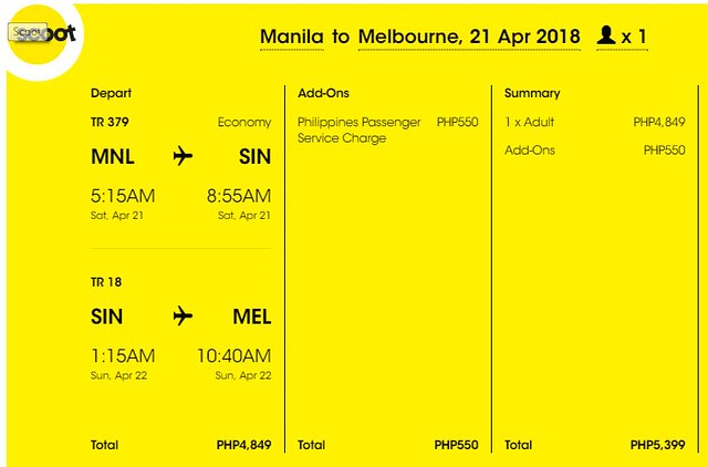 Manila to Melbourne Scoot Promo April 21, 2018