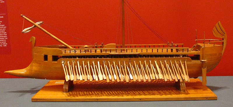 A model of an Athenian trimere from the Acropolis of Athens