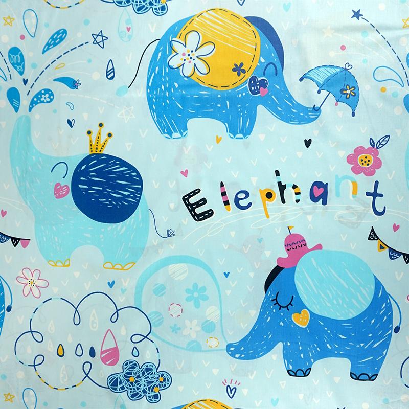 卡通大象 童趣 可爱动物 精梳棉床品床单布料 ca490369