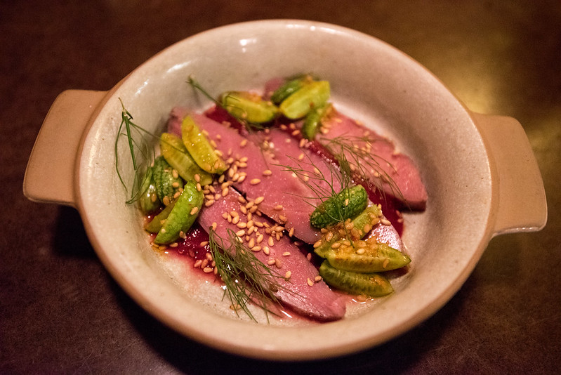 State Bird Provisions- Fillmore District, San Francisco, CA: Liberty Duck Breast with Beet Kimchi Puree, Mini Cucumbers