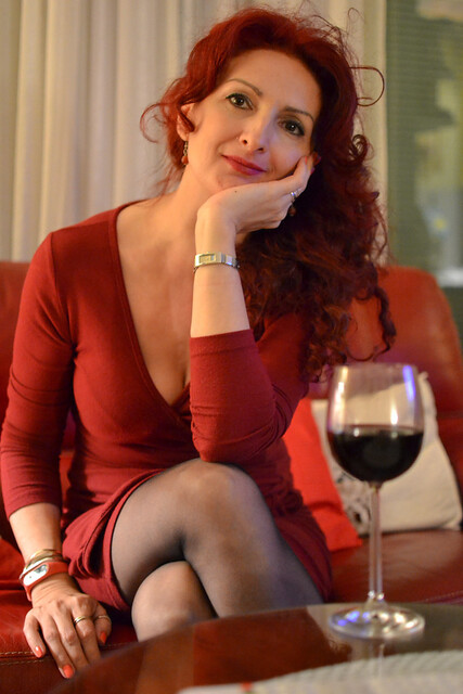 Red woman& red wine