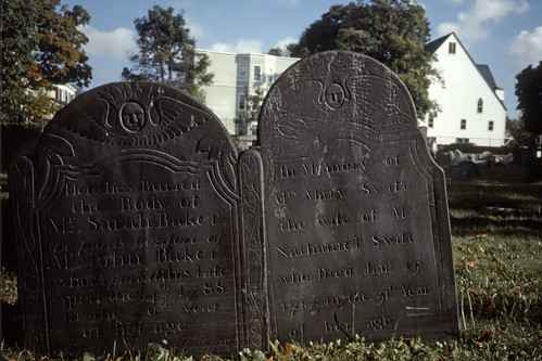 Headstones in an historical cemetery in Boston - Kodachrome - 1990
