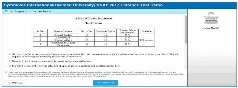 SNAP Entrance Test Demo