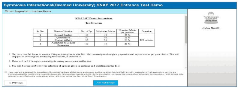 SNAP Entrance Test Demo