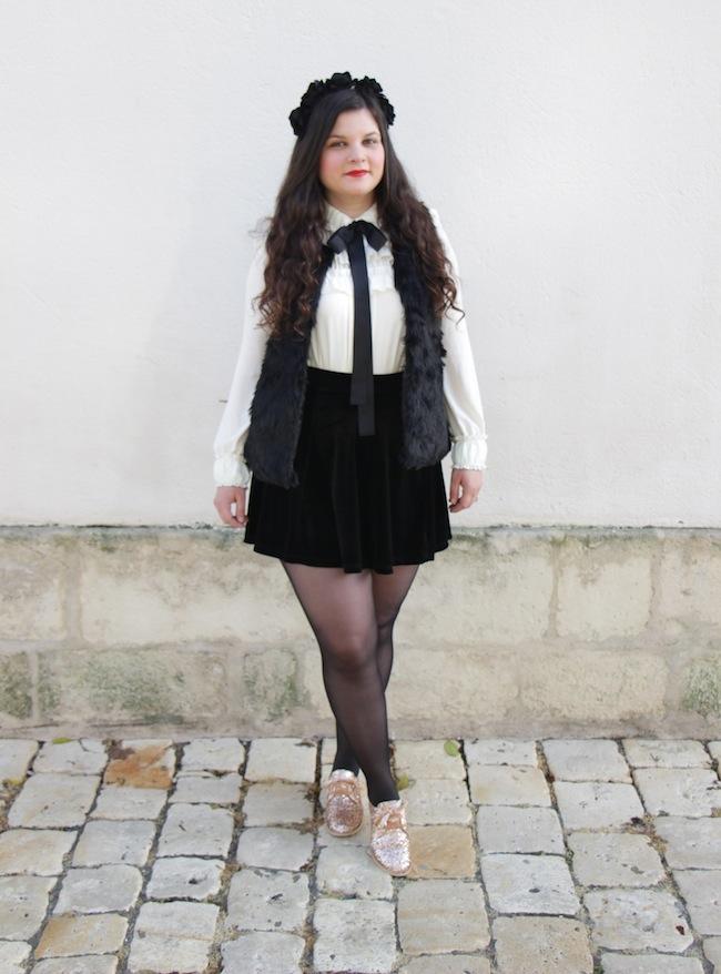 Gilet sans manches faux fur et jupe velours