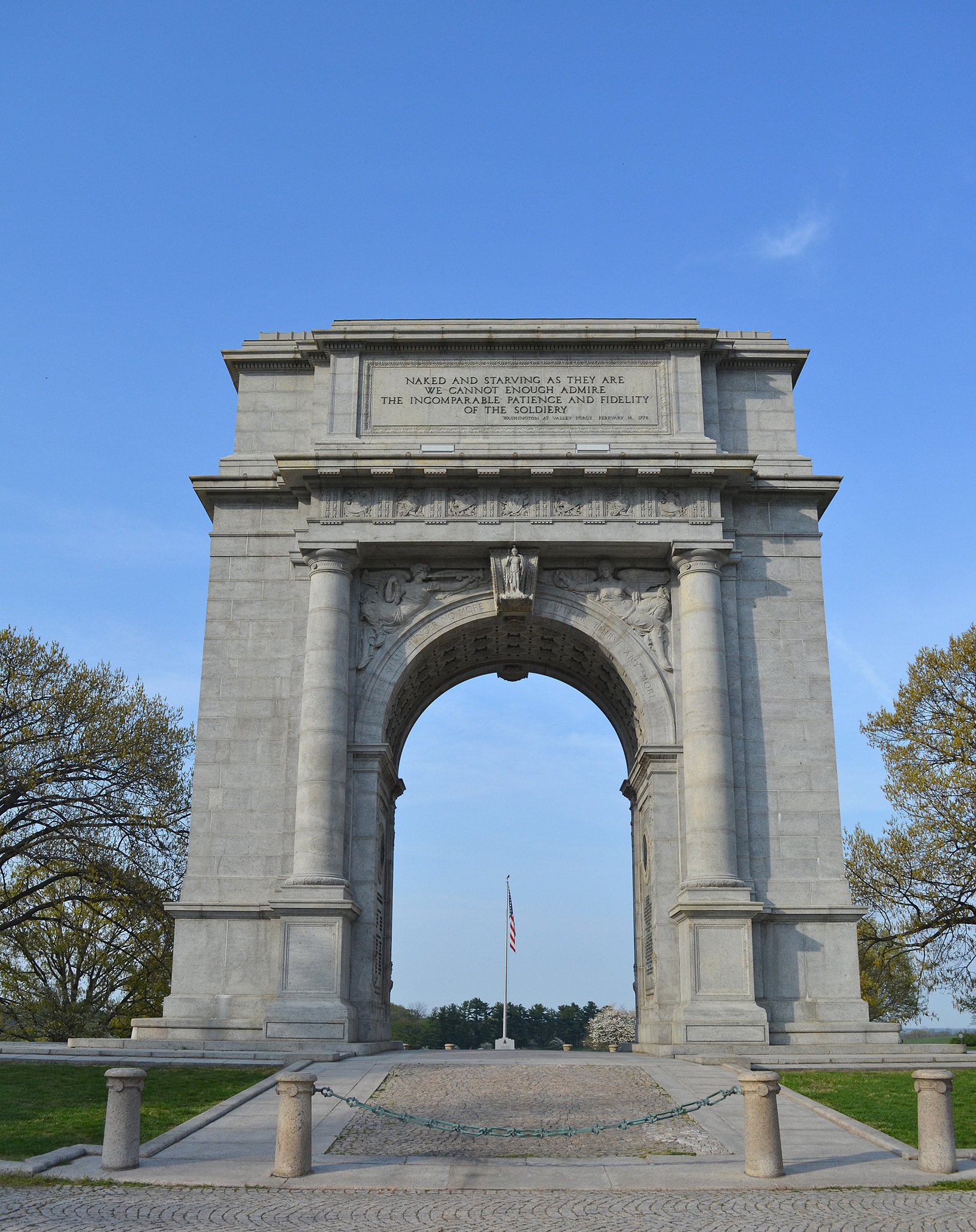 The National Memorial Arch in honor of the Continental Army is at Valley Forge. Photo taken on April 15, 2012.