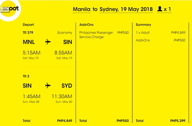 Manila to Sydney Scoot Promo May 19, 2018