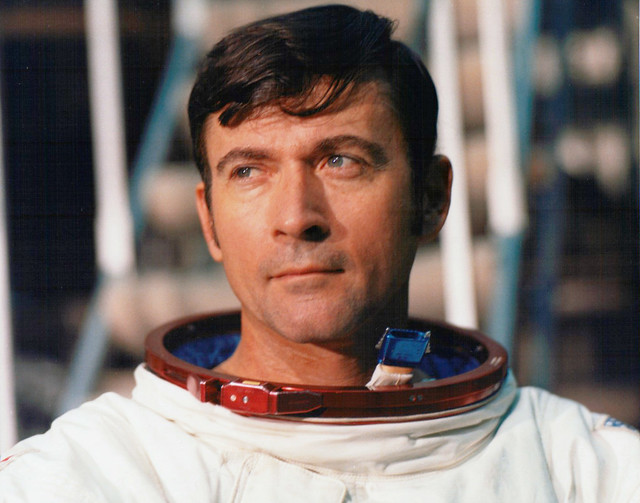 Apollo 16 Commander John Young, just after leaving the simulator