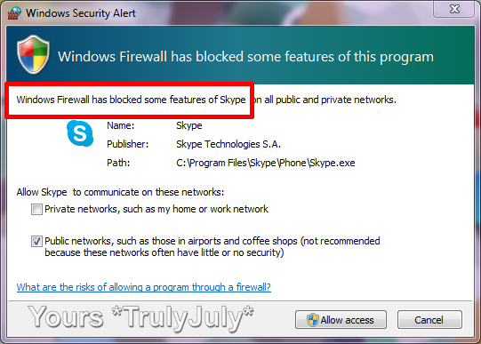 The Microsoft Windows Firewall has a problem with the Microsoft Skype program. Surely it should know by now that Skype is trustworthy?