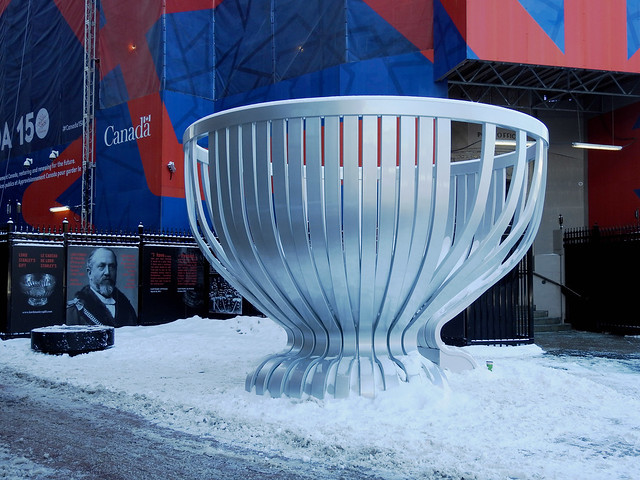The Stanley Cup monument on the Sparks Street Mall in Ottawa, Ontario