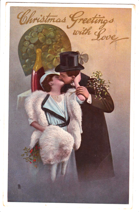 Vintage Christmas Postcard, Romantic Couple, Fur and Fashion, 1913