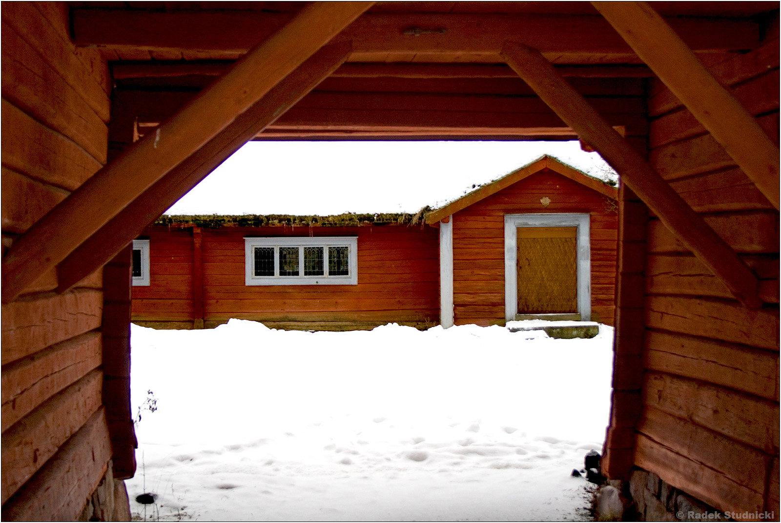 Skansen w Sztokholmie zimą