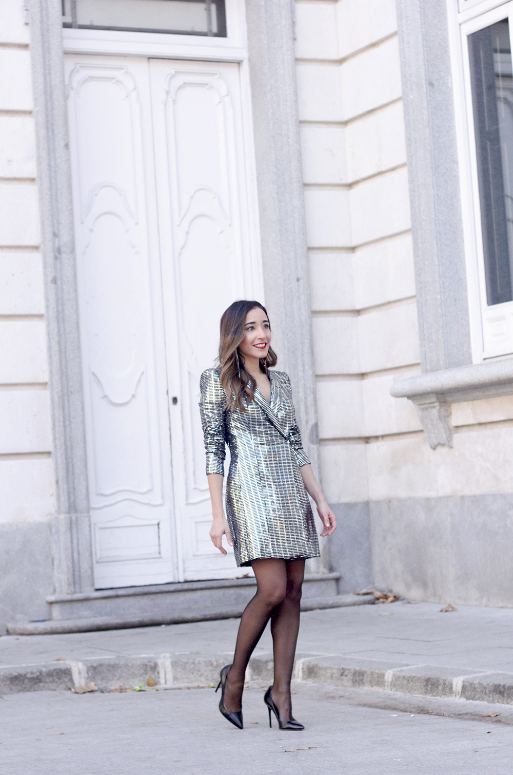 silver sequin dress zara heels christmas outfit look de fiesta party outfit06