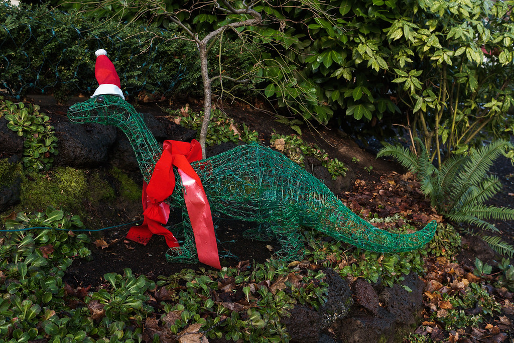 A dinosaur with Christmas lights in the Irvington neighborhood of Portland, Oregon