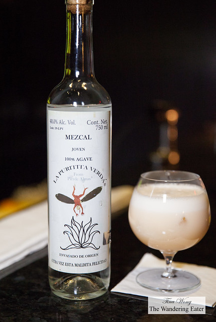 Smoked Casamilagros mezcal cocktail - honey water, chocolate bitters, Angostura bitters, egg white