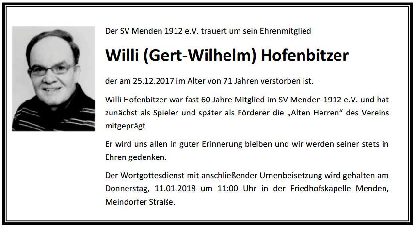 Hofenbitzer Trauer Willi