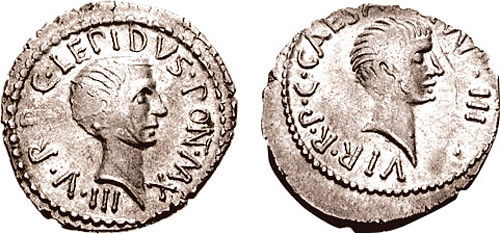 Portraits of Lepidus and Octavian on aureus issued to celebrate the Second Triumvirate