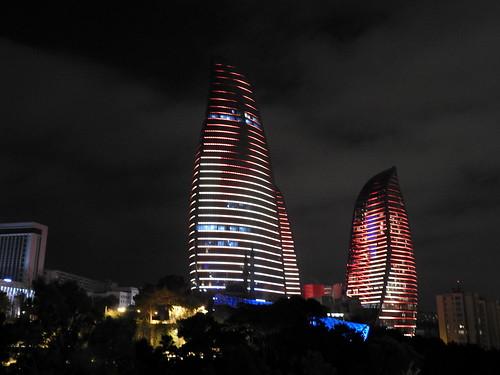 Baku (Azerbaijan) - Parco montano di notte