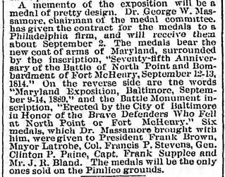 Sun, Mon 26 Aug, 1889, 6 Massamore Fort McHenry medal