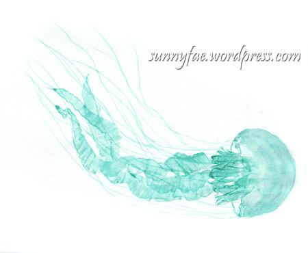 one blue jellyfish sketch