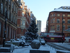 Snow in the Colmore Business District - Christmas tree in Church Street Square
