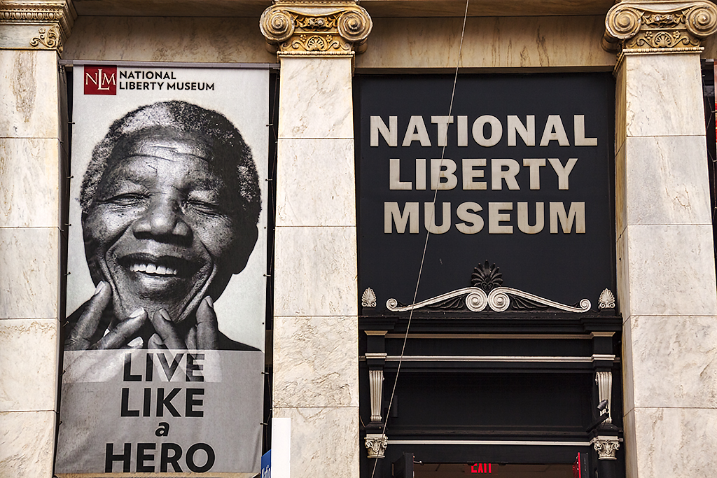 Mandela image at NATIONAL LIBERTY MUSEUM--Old City