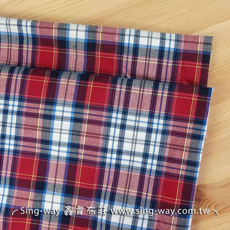 紅白格藍線 方格 格子 文青 休閒 襯衫洋裝服裝布料 FC890023