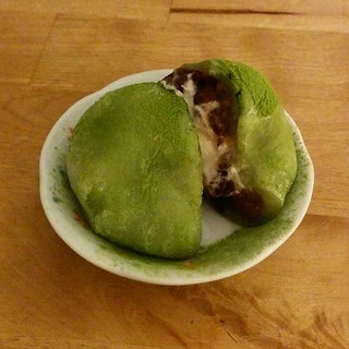 One more from tonight - very fresh matcha mochi with azuki beans and whipped cream!
